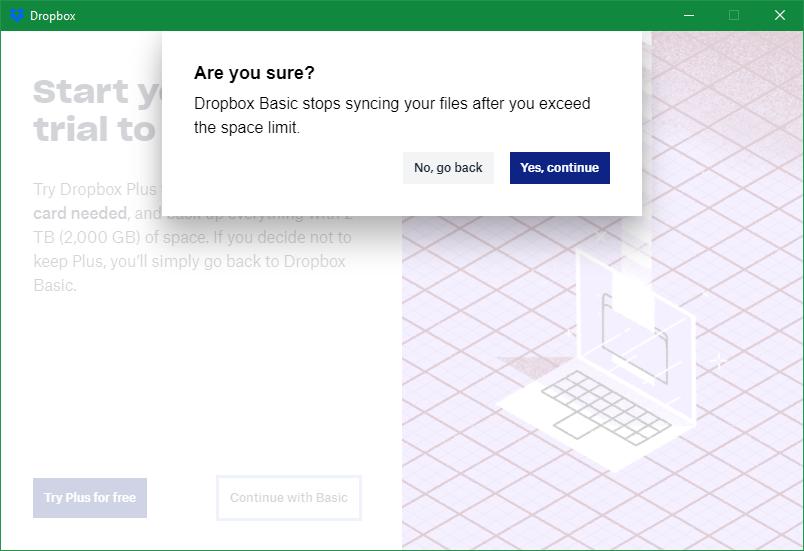 Dropbox Back Up Basic Warning