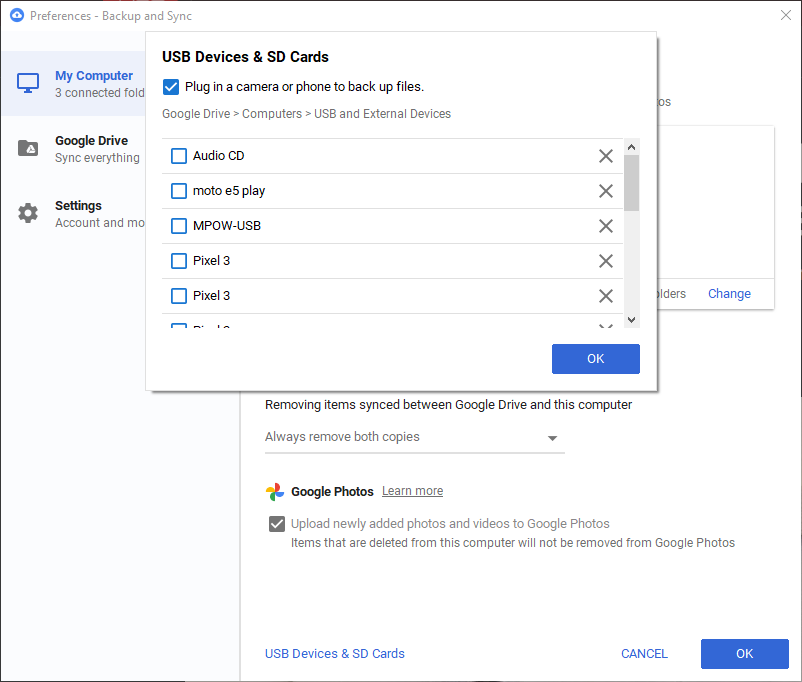 Google Drive Back Up External Devices