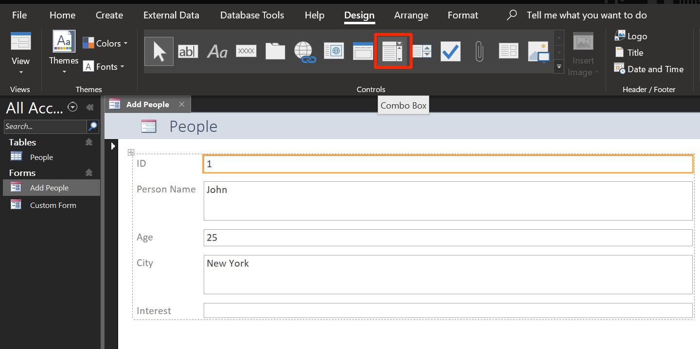 add combo box in access