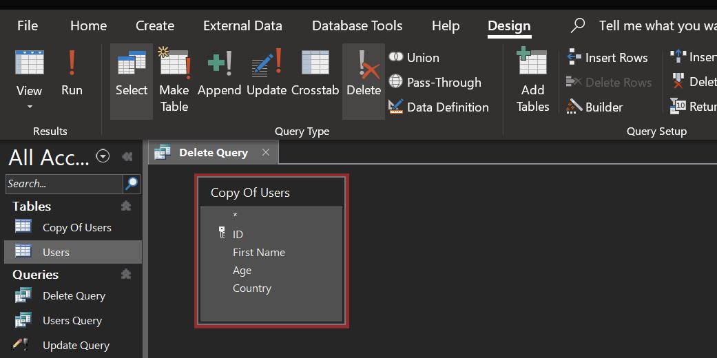 create delete query