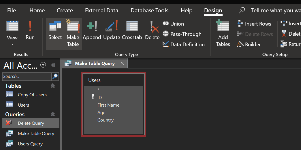 create make table query