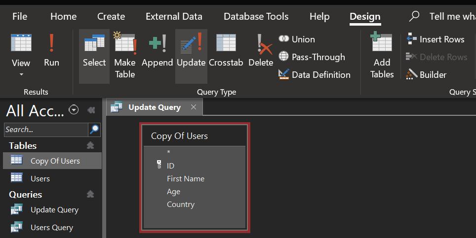 create update query