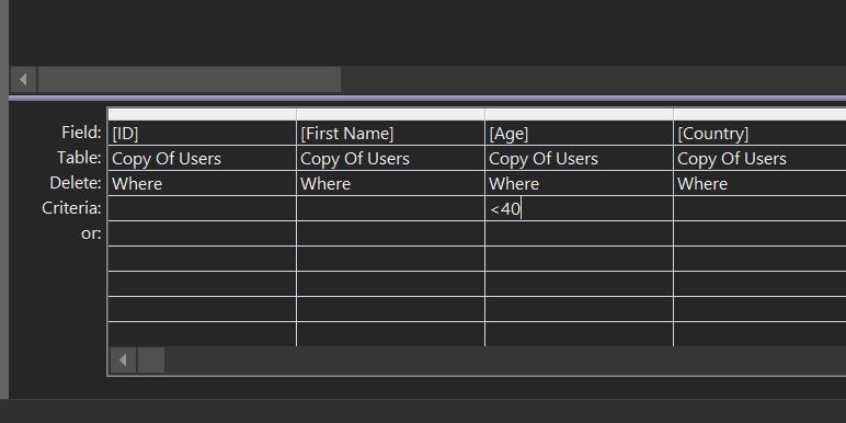 delete query criteria