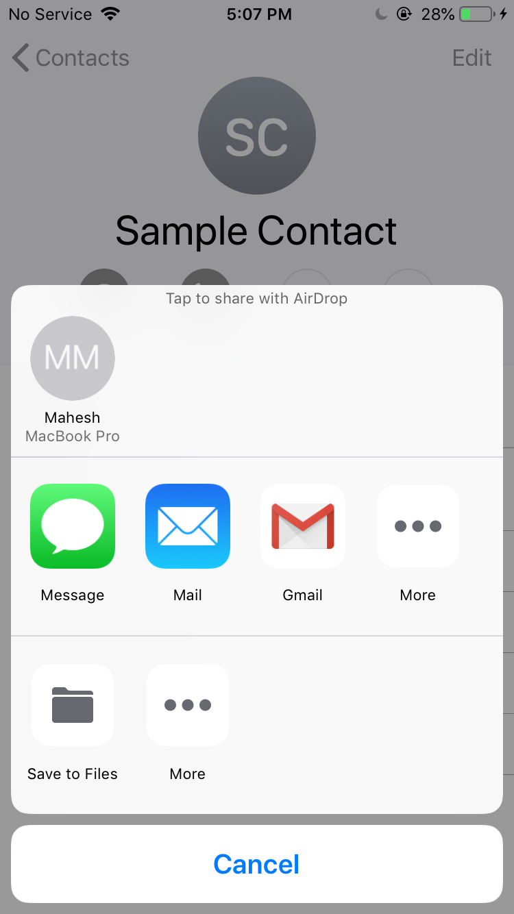 send contacts via email