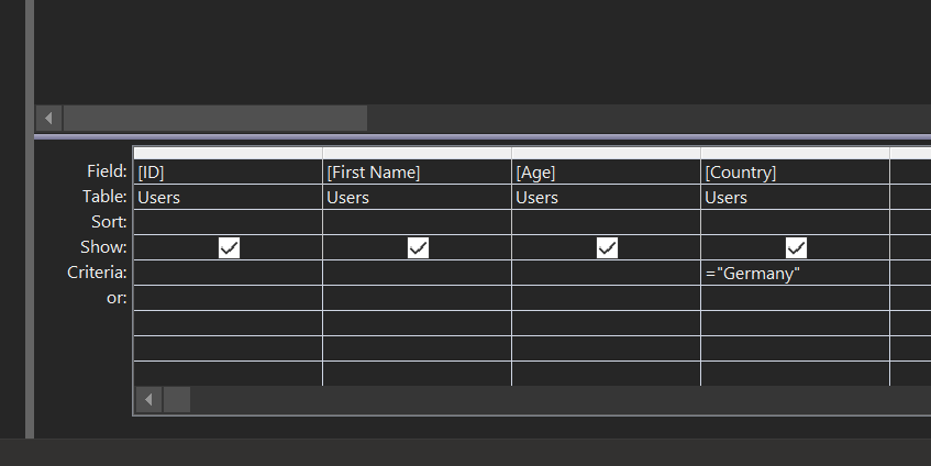 make table query criteria