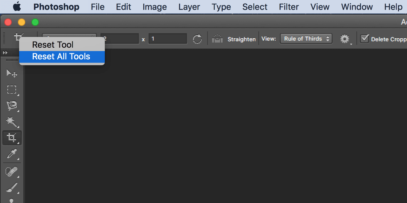 reset all tools in photoshop