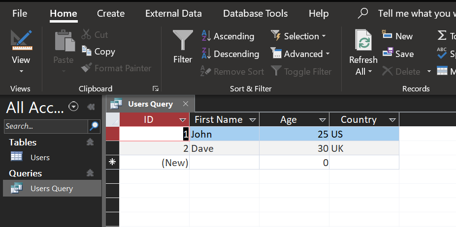 select query results