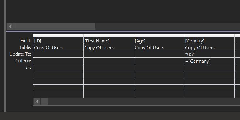 update query criteria
