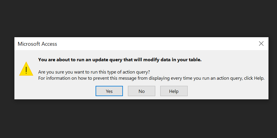 update query prompt
