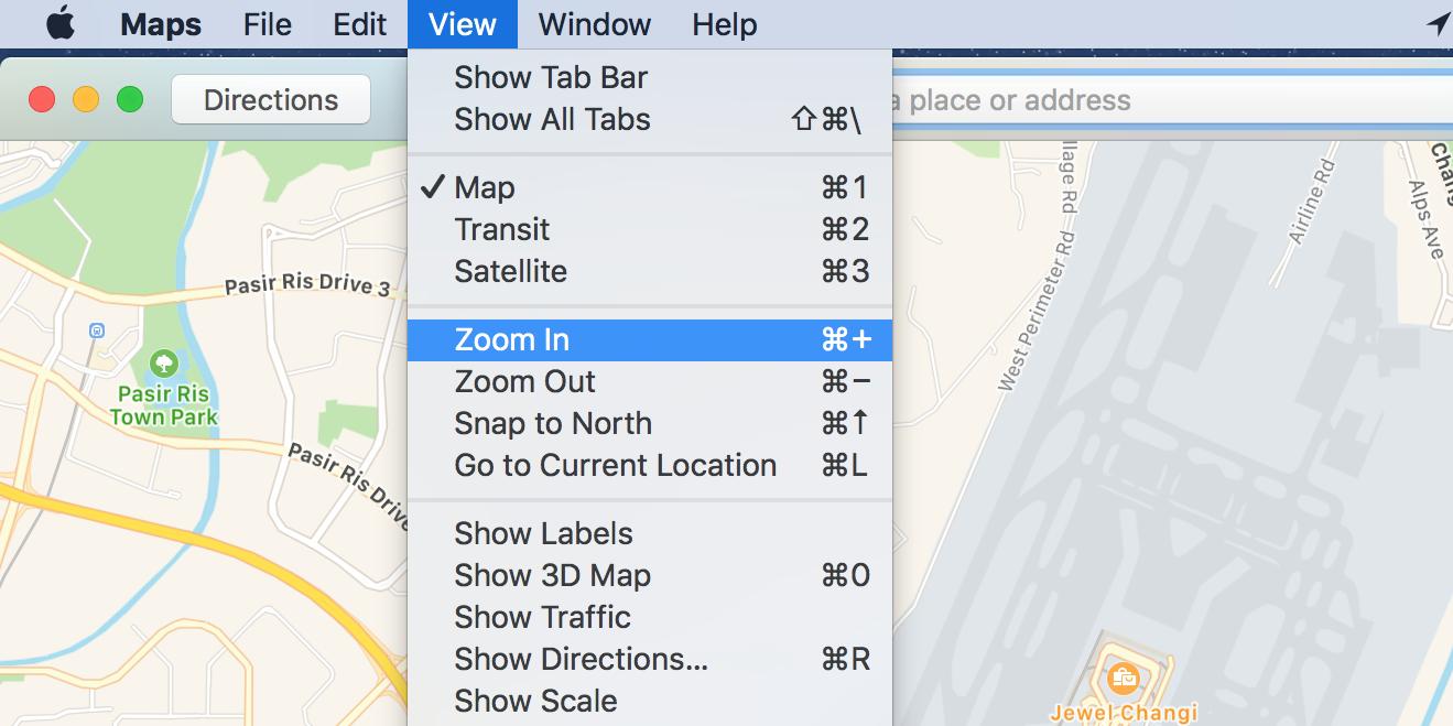 zoom in apple maps on mac