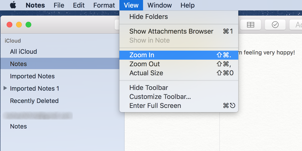 zoom in apple notes on mac