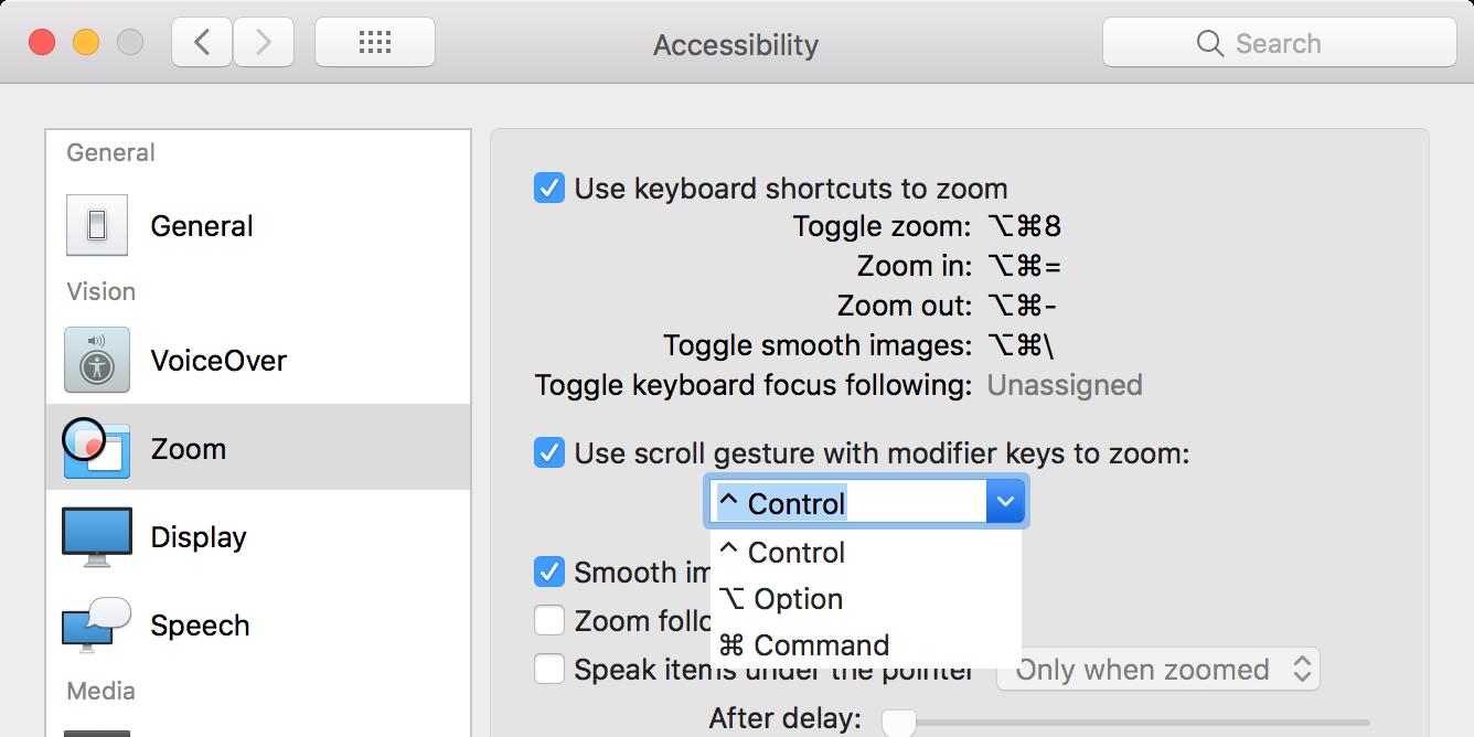 enable zoom gestures on mac