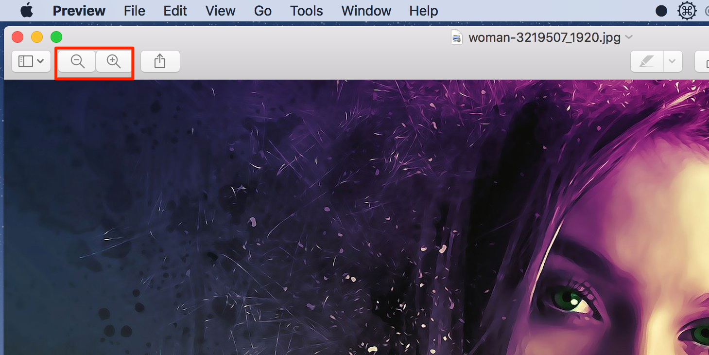 zoom in preview on mac