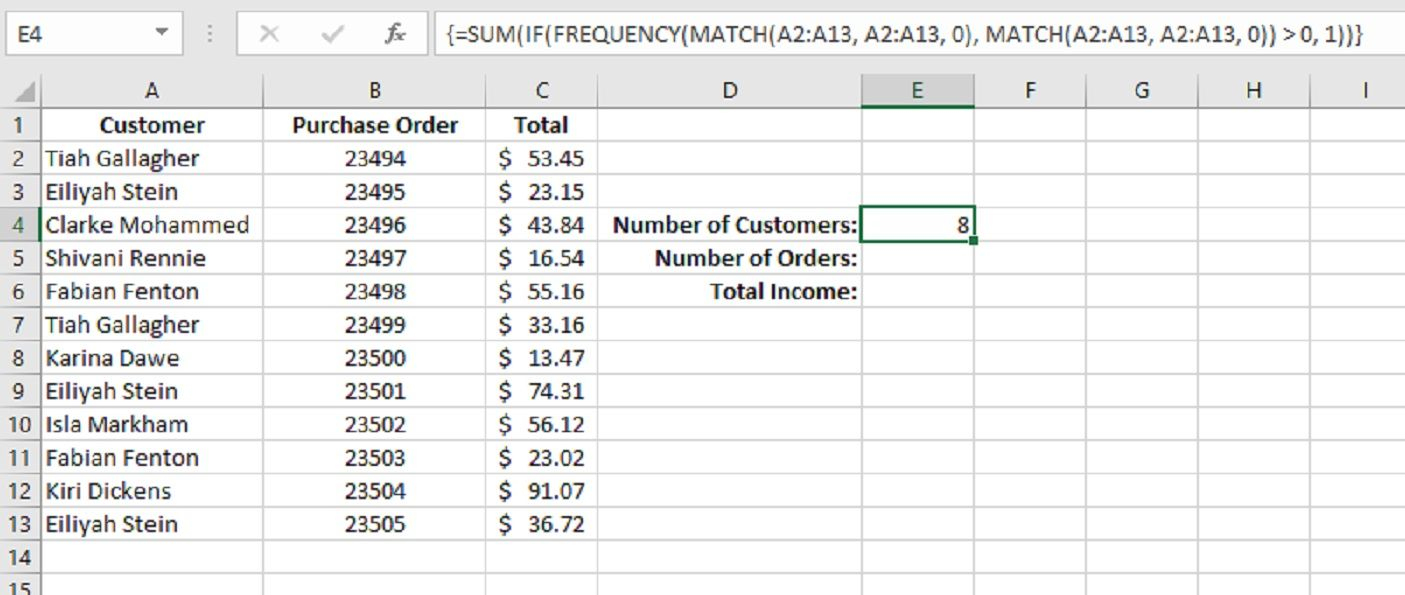 How to Count Unique Values in Excel