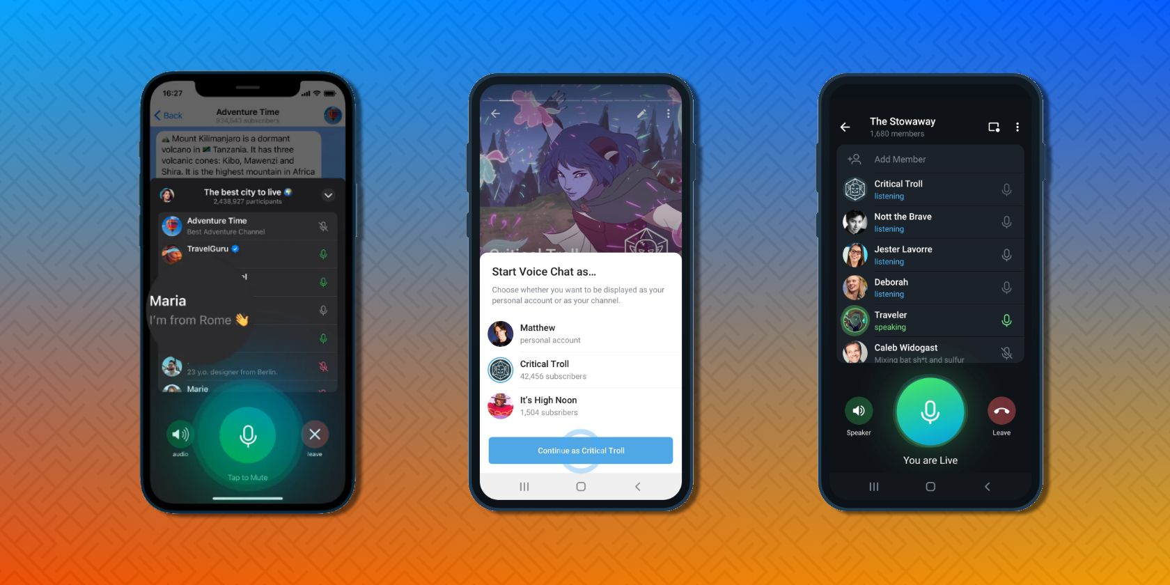 Telegram Launches Unlimited Voice Chats in Channels to Battle Clubhouse