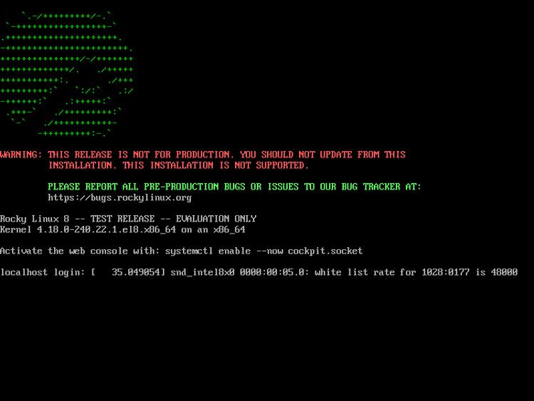 Rocky Linux console login