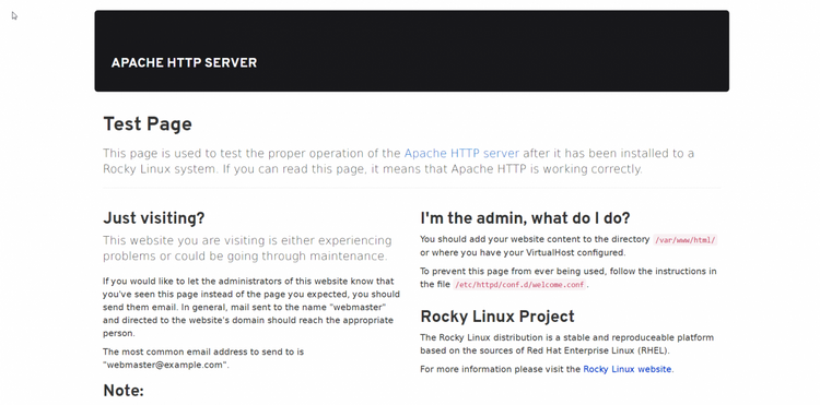 Rocky Linux Apache test page